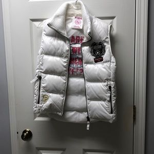 PINK white puffy vest